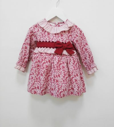 Vestido-bebé-flores-granate-Anabel-Moda-infantil