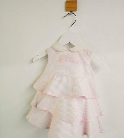 Vestido-bebé-volantes-rayas-rosa