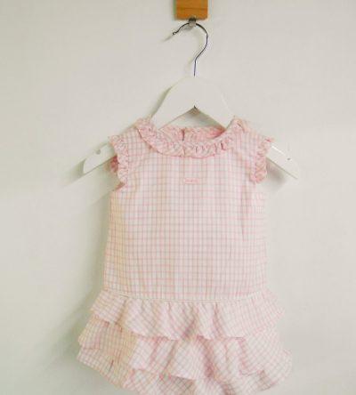 Vestido-bebé-con-braga-cuadros-rosa