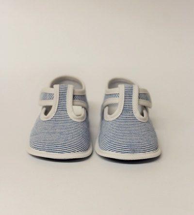 Zapatos-bebé-niño-rayas-azul