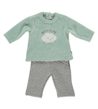 Conjunto-bebé-algodón-felpa-nubes-verde-empolvado