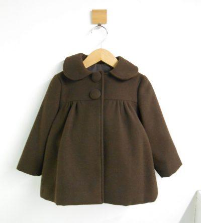 Abrigo-niña-paño-marrón