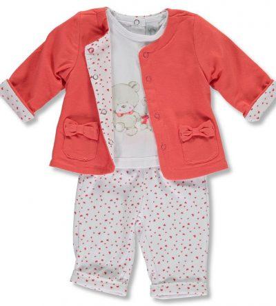 Conjunto 3 pzas corazones Anabel moda infantil