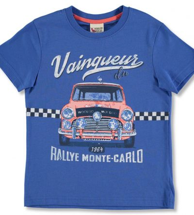 Camiseta azul dibujo coche