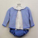 Conjunto ranita rayas azul 3pzas en Anabel moda infantil