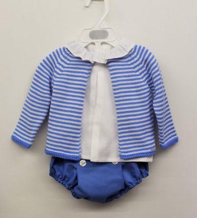 54c1ec3a99 Conjunto ranita rayas azul 3pzas en Anabel moda infantil