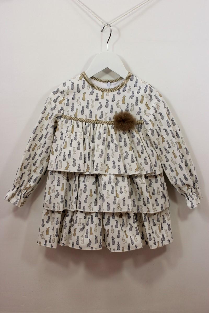 e9fca099e Vestido volantes estampado conejitos de Basmarti - Anabel Moda Infantil